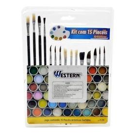 Kit De 15 Pincéis Artísticos Pincel Para Tecido E Artesanato
