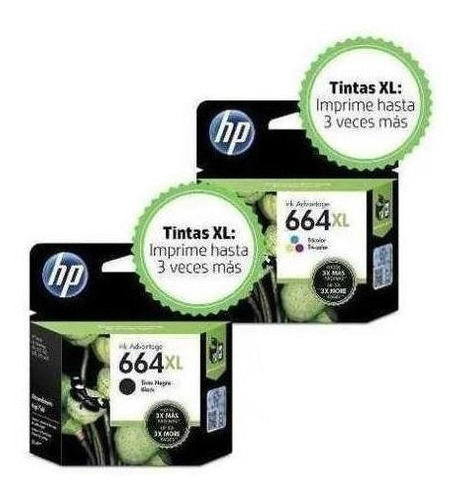 kit de 2 cartuchos de tinta hp 664xl original negro y color