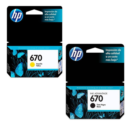 kit de 2 cartuchos hp 670 negro y amarillo original