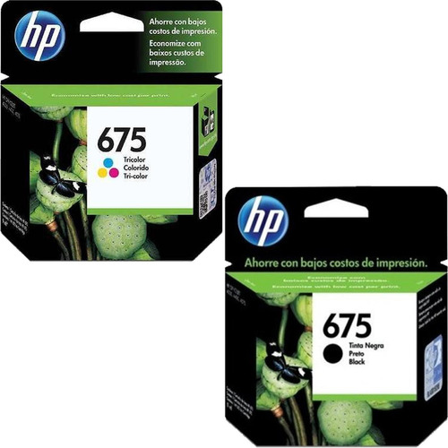 kit de 2 cartuchos hp 675 tricolor y 675 negro