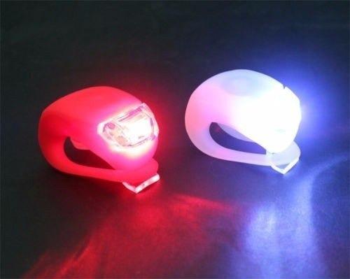 kit de 2 luz led silicón impermeable para bicicleta 3 en 1