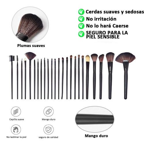 kit de 24 brochas pincel de maquillaje profesional+ estuche