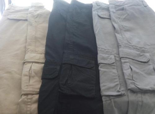 kit de 3 calças cargo em brim sarja