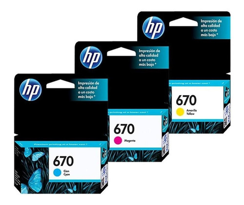 kit de 3 cartuchos hp 670 color originales