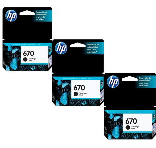 kit de 3 cartuchos hp 670 negro original