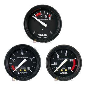 Kit De 3 Relojes Orlan Rober Presión De Aceite +  Voltimetro +  Temperatura De Agua
