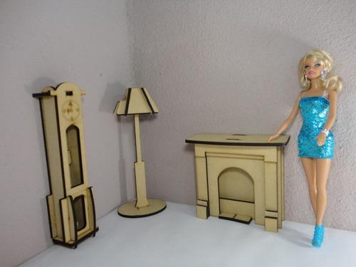 Kit De 31 Muebles Para Barbie Hechos En Madera Mdf