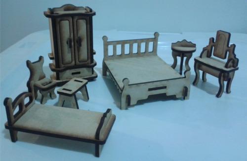 kit de 34 muebles mdf para casa de muñecas.