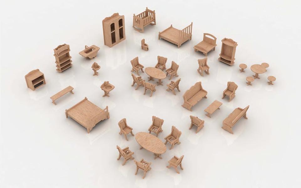 Kit de 38 muebles para casa de mu ecas en mdf for Armado de muebles en mdf