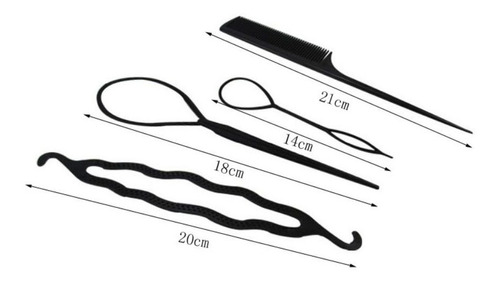 kit de 4 accesorios de moda para el cabello peina facil