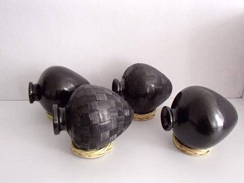 kit de 4 artesanías de barro negro. cántaros #hechoenméxico.