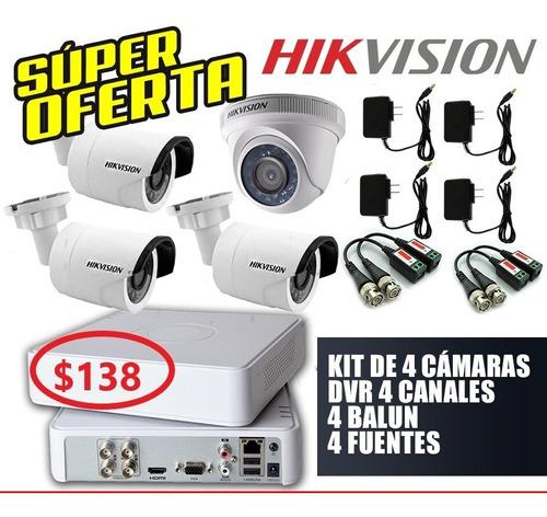 kit de 4 cámaras hd 720p hikvision + disco duro 500 gb.