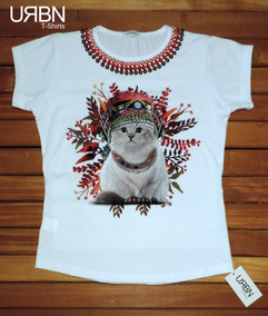 0f1ab7b5f T Shirts Feminina Carinha De Gato Dormindo - Calçados, Roupas e Bolsas com  o Melhores Preços no Mercado Livre Brasil