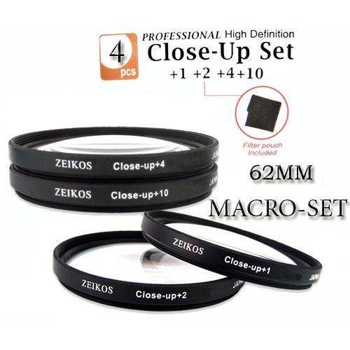 kit de 4 filtros lentes ze 62mm macro close up +1+2+4+10
