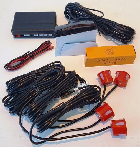 kit de 4 sensores de reversa con indicador distancia a color
