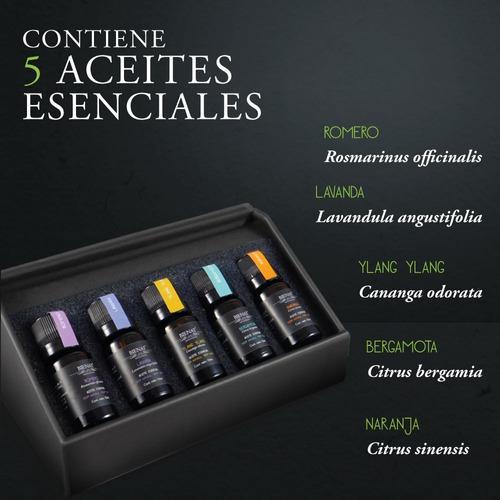 kit de 5 aceites esenciales - mix zen + aceite masaje gratis