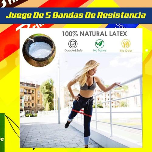 kit de 5 bandas elasticas fitness gym yoga crossfit pilates