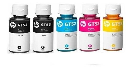 kit de 5 botellas de tinta hp 2 gt53 negro y gt52 tricolor