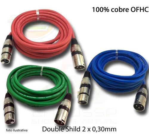 kit de 5 cabos colorido microfone/dmx  balanceado 3 metros