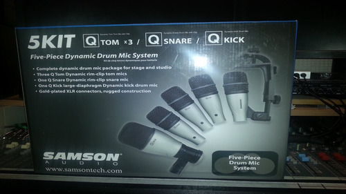 kit de 5 microfonos para bateria samson dk5