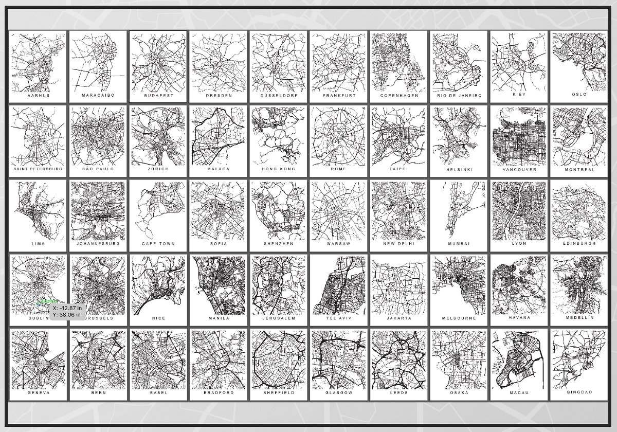 Kit De 50 Laminas De Mapas De Ciudades Para Enmarcar - $ 8.750,00 en ...