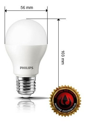 kit de 6 lamparas led philips ledbulb 9.5w e27 calida