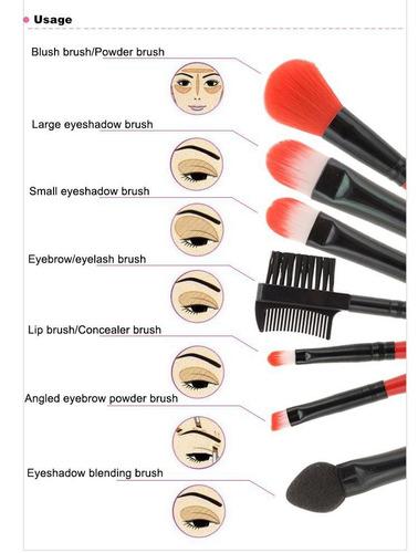 kit de 7 brochas para rostro sombras rubor. maquillaje, ojos