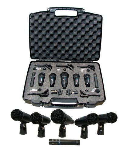 kit de 7 microfonos para bateria con estuche audiomex