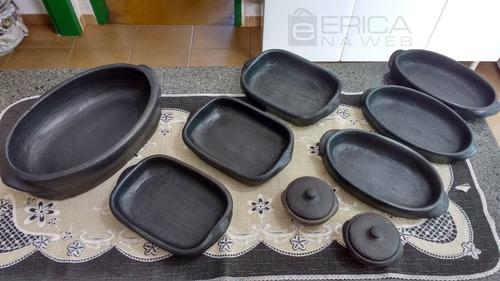 kit de 7 mini tabuleiro barro e pimenteira para servir arroz