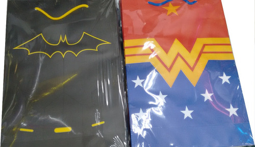 kit de 70 sacola kraft liga da justiça 2 modelos a escolher