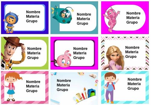 kit  de 70 stickers para utiles escolares personalizados