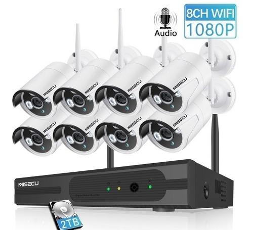 kit de 8 camaras inalambricas fácil instalación 1080p  1tb