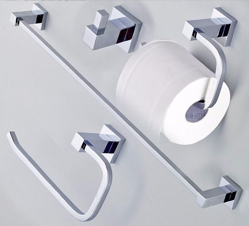 Kit Acessorios Banheiro Deca : Kit de acess?rios banheiro quadrado luxo r