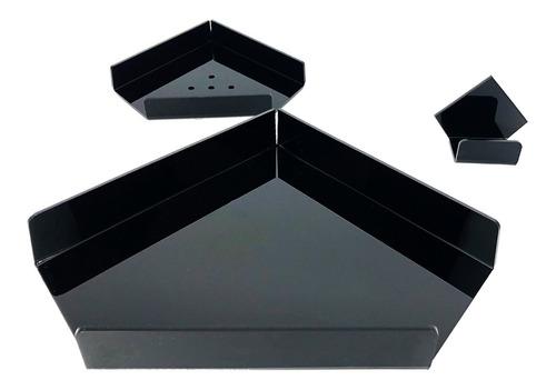 kit de acessórios p/ banheiro 3 pçs em acrílico sem furação
