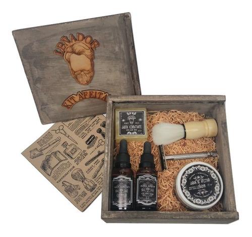 kit de afeitar barba leñador vintage