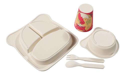 kit de alimentação infantil ecológico fibra de bambu 5 peças