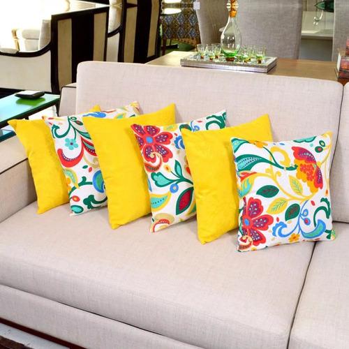 kit de almofadas amarela e colorida alure 6 peças cheias