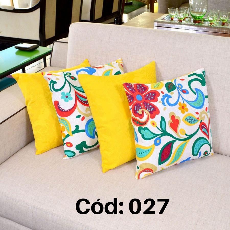 kit de almofadas decorativas 4 pe as 45cm cheias estampadas r 46 00 em mercado livre. Black Bedroom Furniture Sets. Home Design Ideas