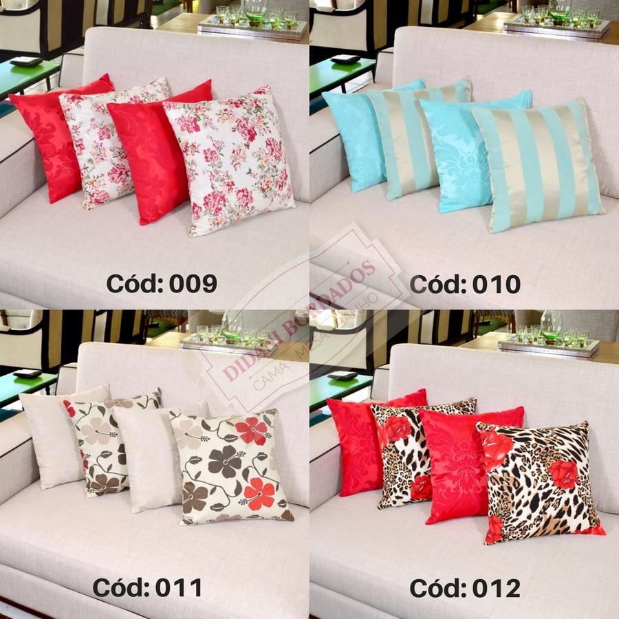 kit de almofadas decorativas 4 pe as 45cm cheias estampadas r 50 90 em mercado livre. Black Bedroom Furniture Sets. Home Design Ideas
