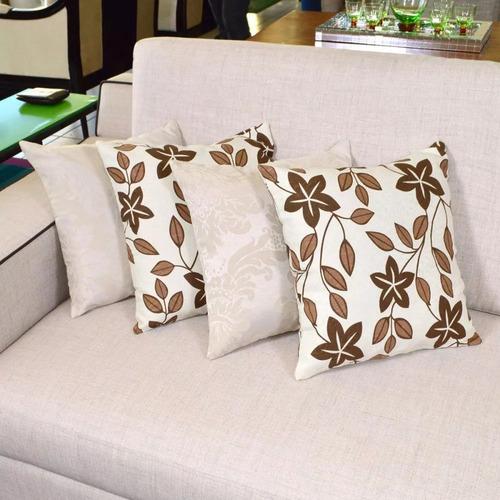 kit de almofadas decorativas 4 peças floral marrom com bege