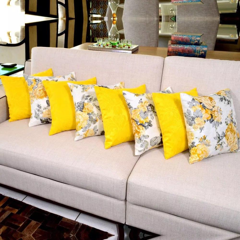 Kit De Almofadas Decorativas Amarela Floral 8 Peças Sofá ...