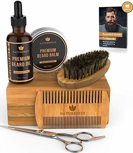 kit de aseo de barba premium naturenics para hombres: aceite