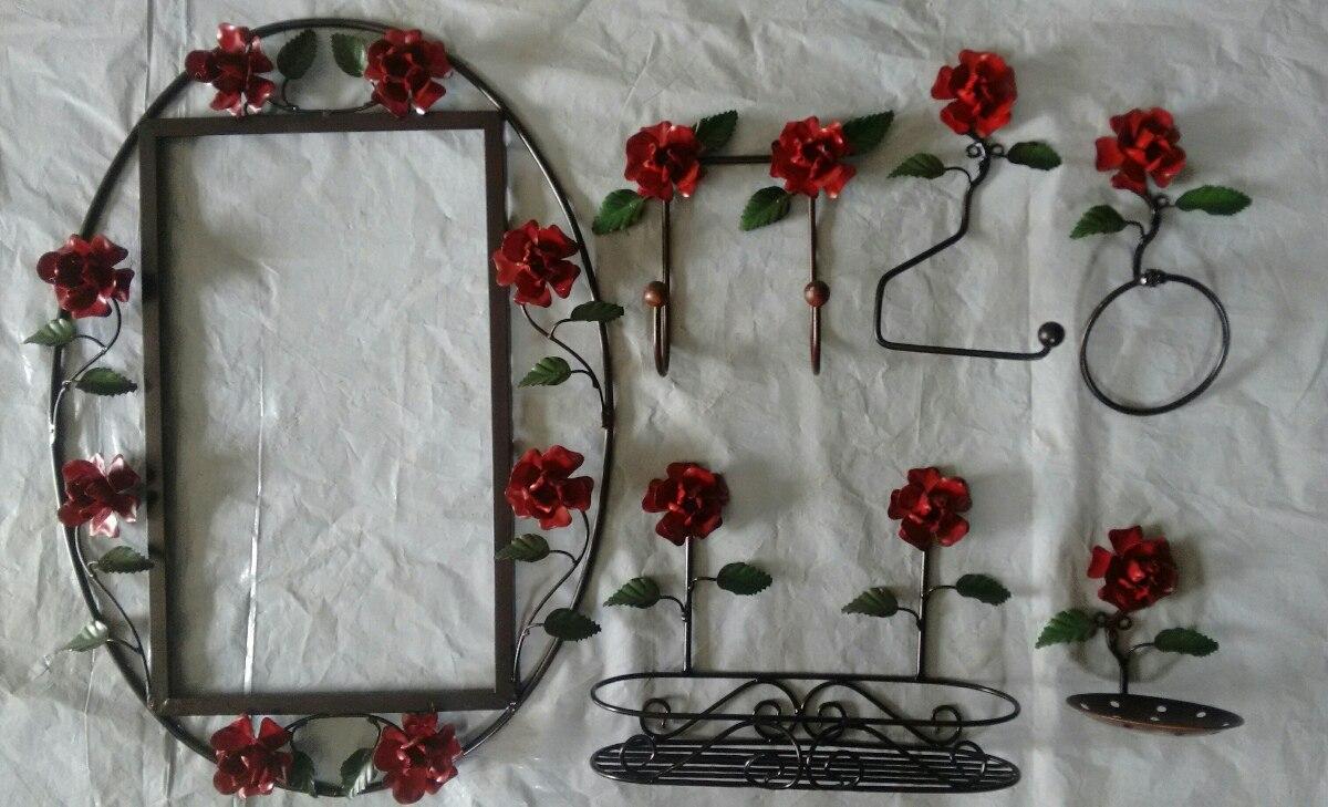 Adesivo De Banheiro Pastilha ~ Kit De Banheiro Completo artesanato Com Rosas De Ferro R$ 275,00 em Mercado Livre