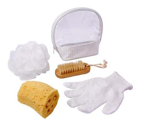 kit de baño, 2 esponjas, cepillo y guante