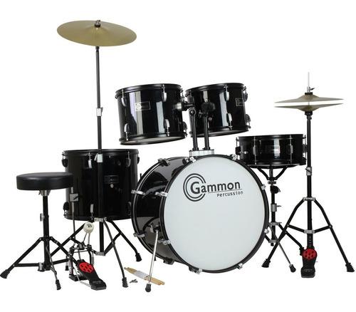 kit de batería completo gammon cymbals stand banco