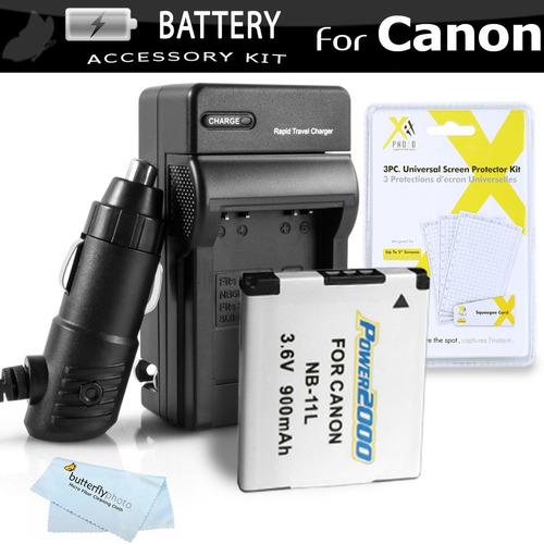 kit de batería y cargador para canon powershot elph 135, elp