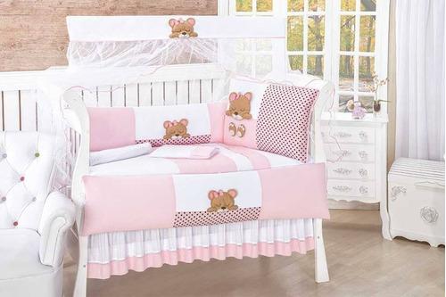 kit de berço americano/bebê/enxoval/personalizado rosa ursa