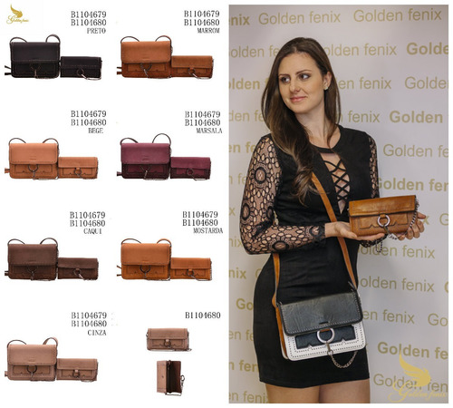 kit de bolsa e carteira feminina golden fênix 4679 promoção