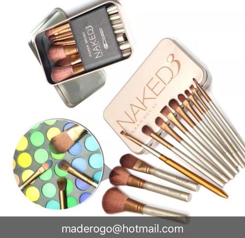 kit de brochas de maquillaje  naked3  en linda caja  metálic