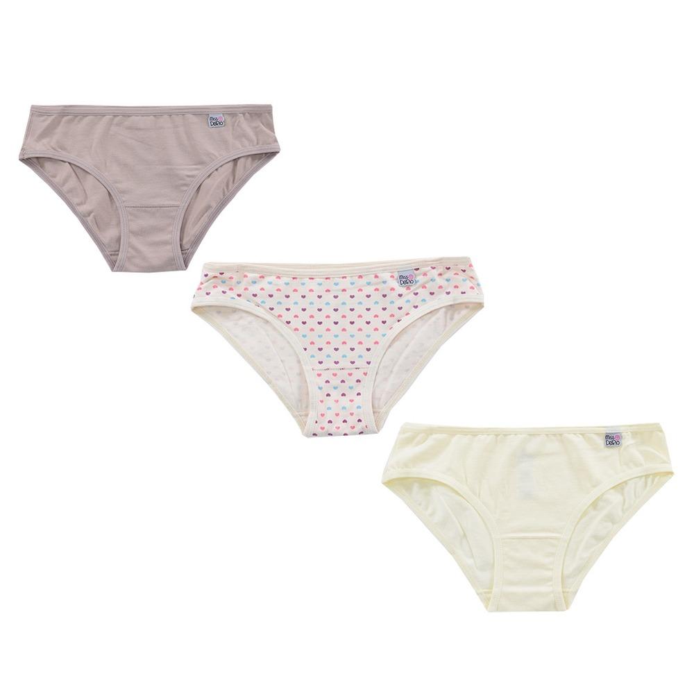 7487d4c206 kit de calcinhas infantil corações - 3 peças - miss delrio. Carregando zoom.